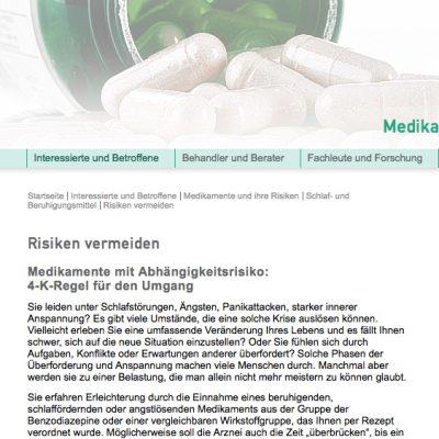 Screenshot von medikamente-und-sucht.de