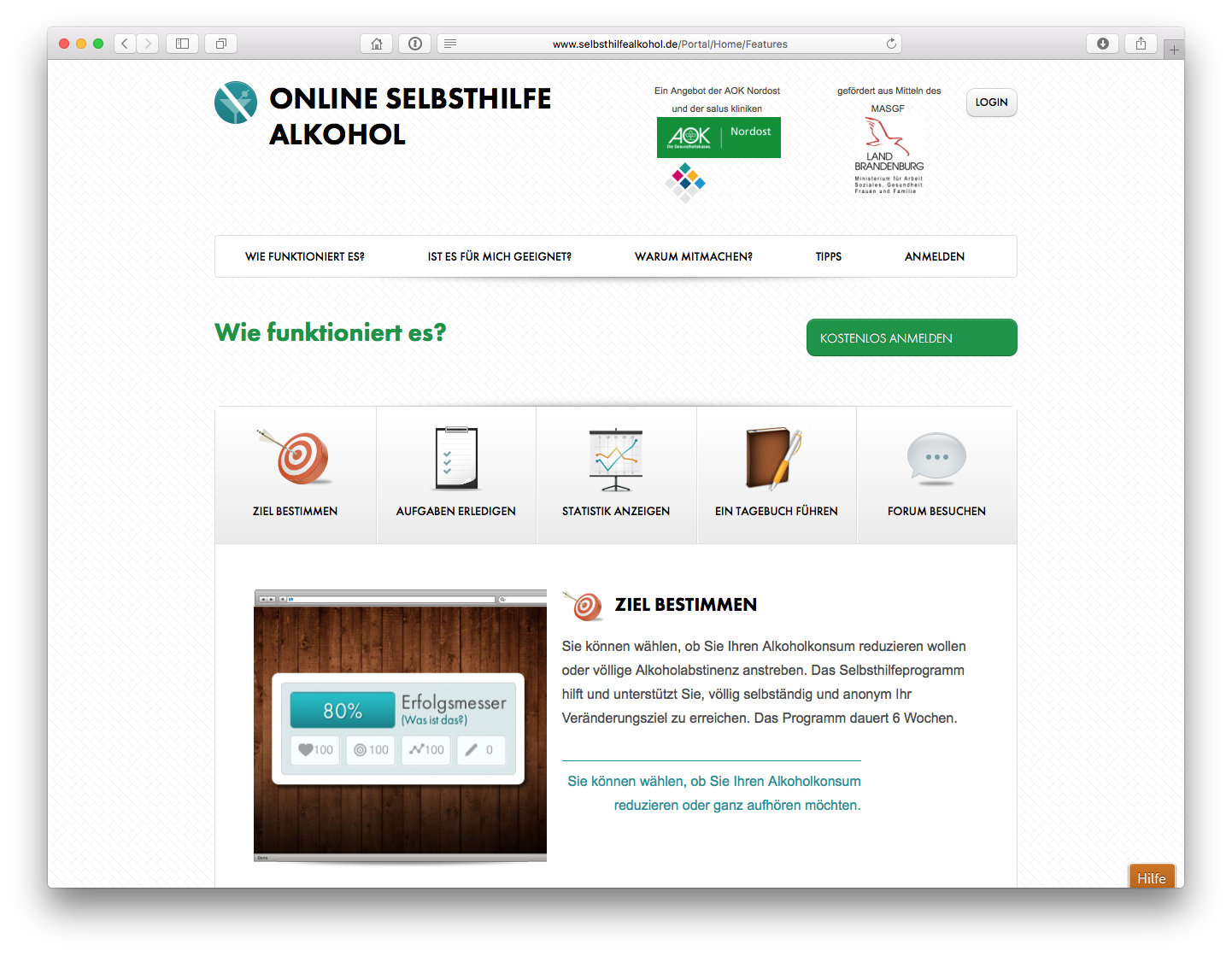 Screenshot von http://www.selbsthilfealkohol.de
