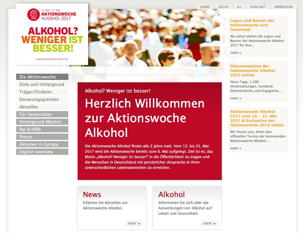 Homepage der Aktionswoche Alkohol