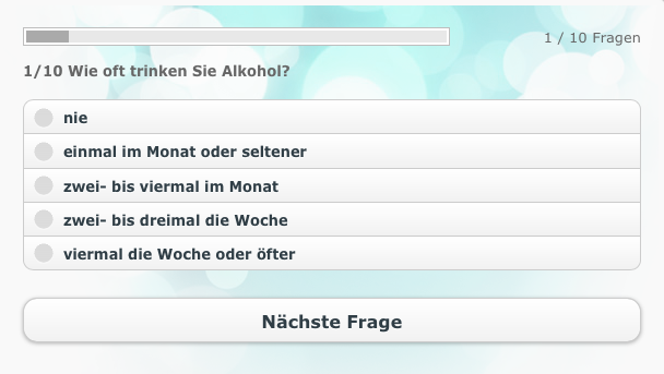 Screenshot des Online-Selbsttests