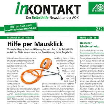 Screenshot des AOK-Newsletters inKONTAKT