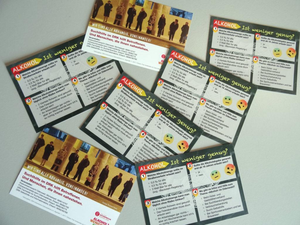 Die an Passanten ausgeteilten Karten zur »Promilleabfrage« …